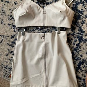 "NWT ZAFUL ALL WHITE ""LEATHER"" TWO PIECE OUTFIT"